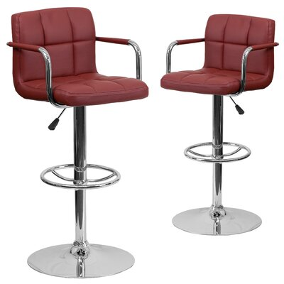 Milam Adjustable Height Swivel Bar Stool Upholstery: Burgundy