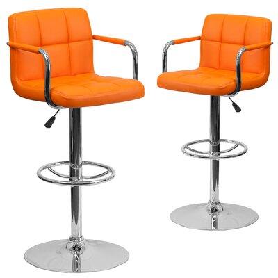 Milam Adjustable Height Swivel Bar Stool Upholstery: Orange