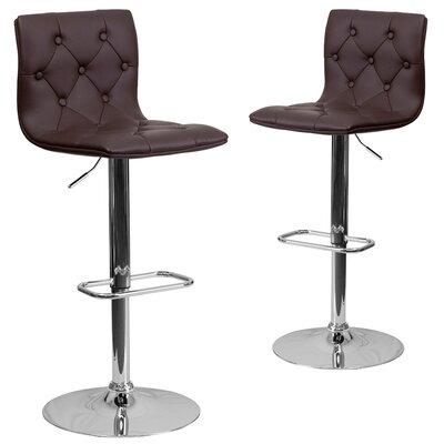 Makena Adjustable Height Swivel Bar Stool Upholstery: Brown