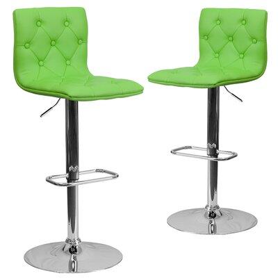 Makena Adjustable Height Swivel Bar Stool Upholstery: Green
