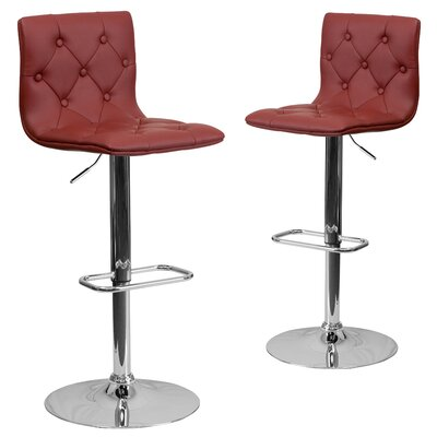 Makena Adjustable Height Swivel Bar Stool Upholstery: Burgundy