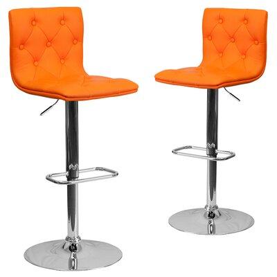 Makena Adjustable Height Swivel Bar Stool Upholstery: Orange