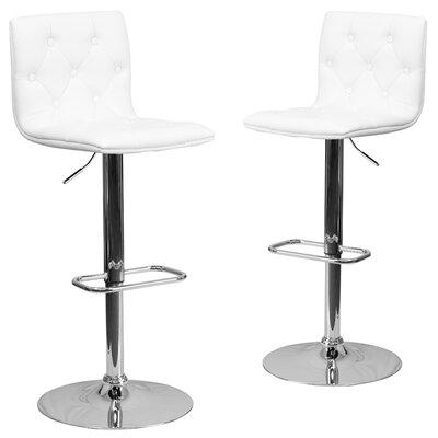 Makena Adjustable Height Swivel Bar Stool Upholstery: White