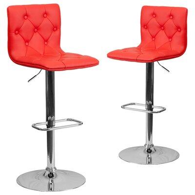 Makena Adjustable Height Swivel Bar Stool Upholstery: Red