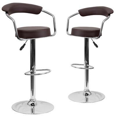 Damian Adjustable Height Swivel Bar Stool Upholstery: Brown