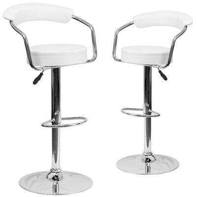 Damian Adjustable Height Swivel Bar Stool Upholstery: White