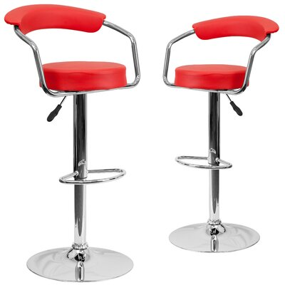 Damian Adjustable Height Swivel Bar Stool Upholstery: Red