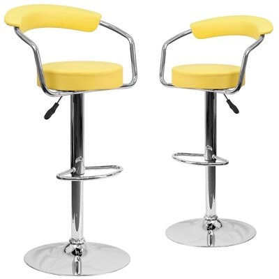 Damian Adjustable Height Swivel Bar Stool Upholstery: Yellow