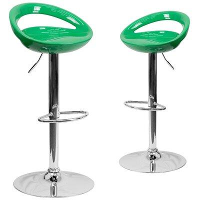 Minnesota Adjustable Height Swivel Bar Stool Upholstery: Green
