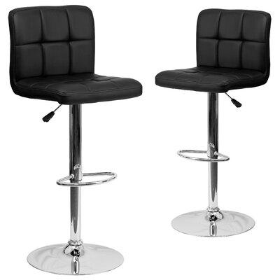 Leonardo Adjustable Height Swivel Bar Stool Upholstery: Black