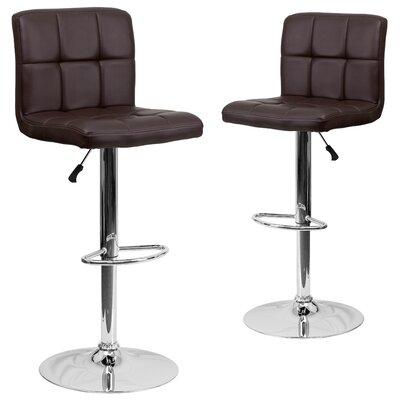 Leonardo Adjustable Height Swivel Bar Stool Upholstery: Brown