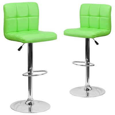 Leonardo Adjustable Height Swivel Bar Stool Upholstery: Green