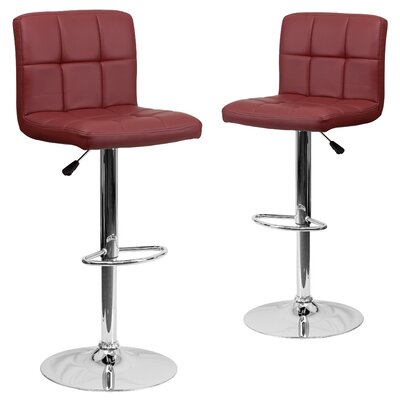 Leonardo Adjustable Height Swivel Bar Stool Upholstery: Burgundy