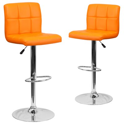 Leonardo Adjustable Height Swivel Bar Stool Upholstery: Orange