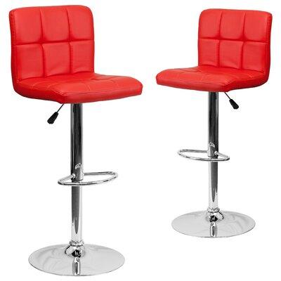 Leonardo Adjustable Height Swivel Bar Stool Upholstery: Red