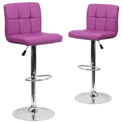 Leonardo Adjustable Height Swivel Bar Stool Upholstery: Purple