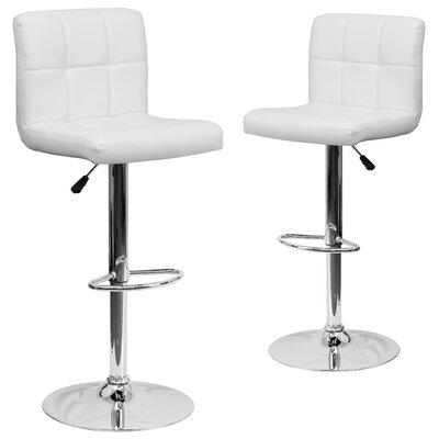 Leonardo Adjustable Height Swivel Bar Stool Upholstery: White