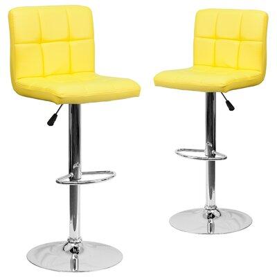 Leonardo Adjustable Height Swivel Bar Stool Upholstery: Yellow