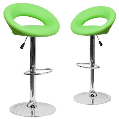 Miraloma Adjustable Height Swivel Bar Stool Upholstery: Green
