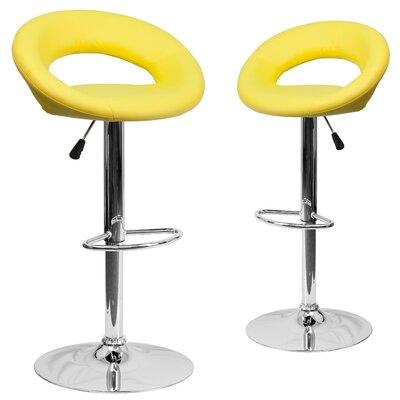 Miraloma Adjustable Height Swivel Bar Stool Upholstery: Yellow