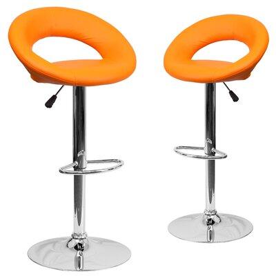 Miraloma Adjustable Height Swivel Bar Stool Upholstery: Orange