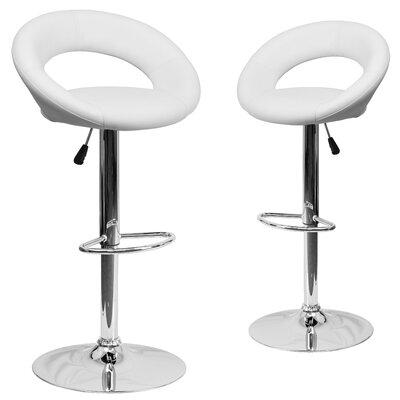 Miraloma Adjustable Height Swivel Bar Stool Upholstery: White