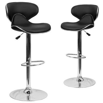 Preston Adjustable Height Swivel Bar Stool Upholstery: Black