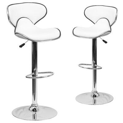 Preston Adjustable Height Swivel Bar Stool Upholstery: White