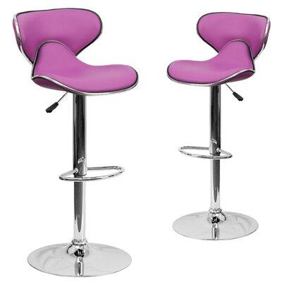 Preston Adjustable Height Swivel Bar Stool Upholstery: Purple