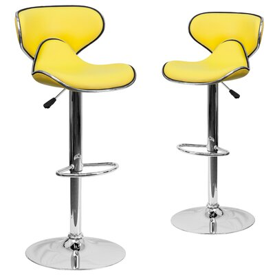 Preston Adjustable Height Swivel Bar Stool Upholstery: Yellow