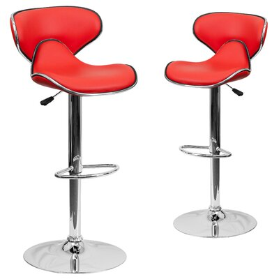 Preston Adjustable Height Swivel Bar Stool Upholstery: Red