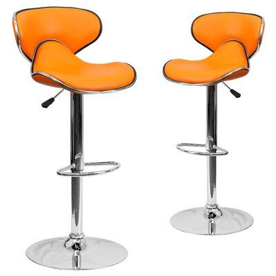 Preston Adjustable Height Swivel Bar Stool Upholstery: Orange