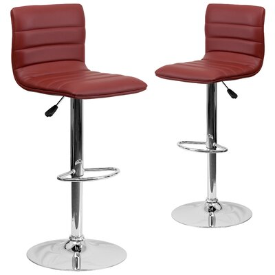 Ben Adjustable Height Swivel Bar Stool Upholstery: Burgundy