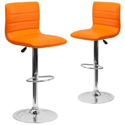 Ben Adjustable Height Swivel Bar Stool Upholstery: Orange