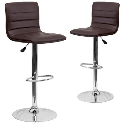 Ben Adjustable Height Swivel Bar Stool Upholstery: Brown