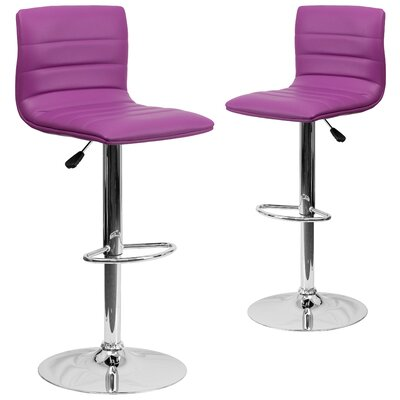 Ben Adjustable Height Swivel Bar Stool Upholstery: Purple