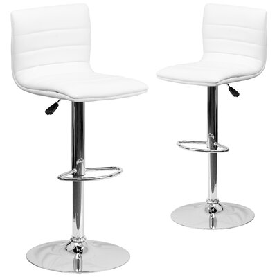 Ben Adjustable Height Swivel Bar Stool Upholstery: White