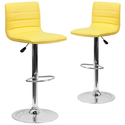 Ben Adjustable Height Swivel Bar Stool Upholstery: Yellow