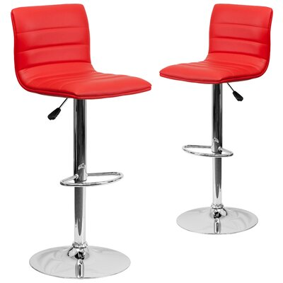 Ben Adjustable Height Swivel Bar Stool Upholstery: Red