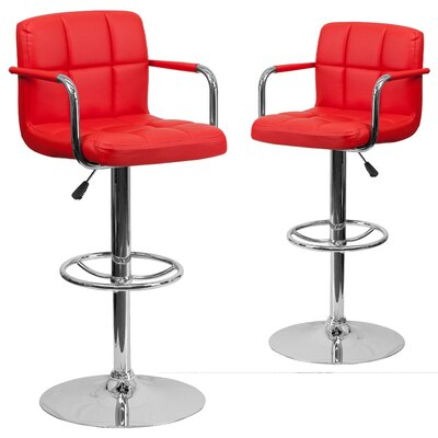 Milam Adjustable Height Swivel Bar Stool Upholstery: Red