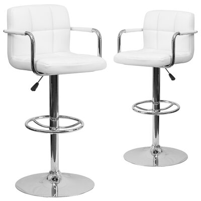 Milam Adjustable Height Swivel Bar Stool Upholstery: White