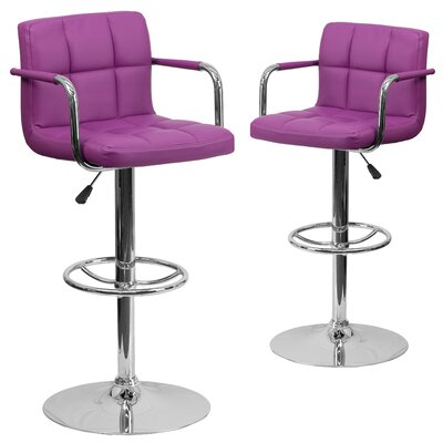 Milam Adjustable Height Swivel Bar Stool Upholstery: Purple