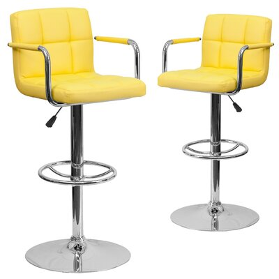 Milam Adjustable Height Swivel Bar Stool Upholstery: Yellow