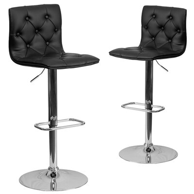 Makena Adjustable Height Swivel Bar Stool Upholstery: Black