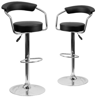 Damian Adjustable Height Swivel Bar Stool Upholstery: Black