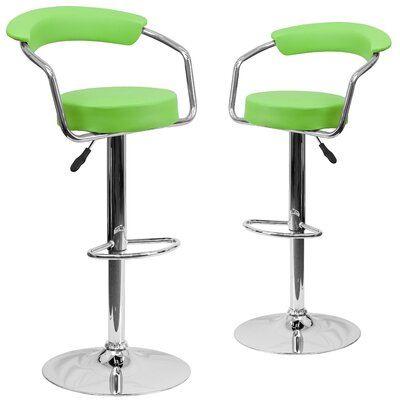Damian Adjustable Height Swivel Bar Stool Upholstery: Green