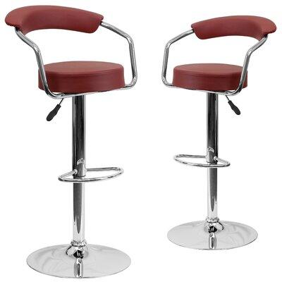 Damian Adjustable Height Swivel Bar Stool Upholstery: Burgundy
