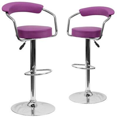 Damian Adjustable Height Swivel Bar Stool Upholstery: Purple