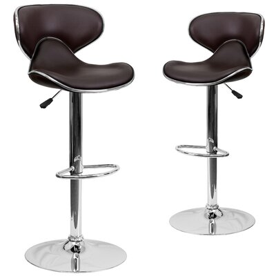 Preston Adjustable Height Swivel Bar Stool Upholstery: Brown
