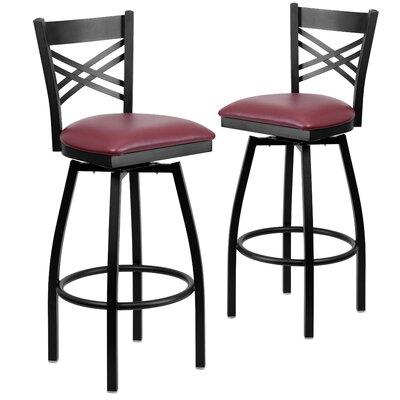"Chafin 32"" Swivel Bar Stool Upholstery: Burgundy"